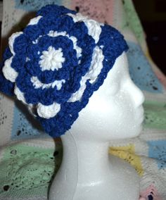 Crochet headband in Navy Blue and White by creatingwithni on Etsy
