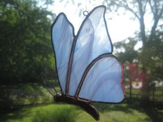 Blue Streaked Stained Glass Butterfly Suncatcher on Etsy, $12.00