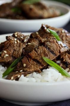 Bulgogi is a beloved Korean dish of spicy grilled beef, and one of the first Korean dishes I tried — and loved. My homemade version here is an easy, weeknight riff on the classic dish. It's become one of my husband's very favorite, please-make-this-at-least-once-a-week meals. And that's cool, because it's a breeze to throw together, especially if you use a couple of my favorite weeknight shortcuts.