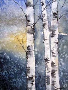 Marianne Sandqvist from palettenhaga. Watercolor Trees, Watercolor Landscape, Watercolour Painting, Watercolors, Watercolor Techniques, Art Techniques, Landscape Quilts, Winter Landscape, Tree Art