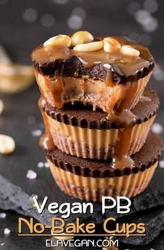 These homemade peanut butter chocolate cups will melt in your mouth! They are vegan (dairy-free, egg-free), gluten-free, and easy to make without an oven! A delicious no-bake recipe which reminds of Reese's cups and which is perfect for dessert! #peanutbuttercups #peanutbutterdessert #chocolatecups #pbcups #vegancups #nobakerecipe #elasrecipes | elavegan.com