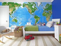 What a cool kid's room! This huge map wall is the focal point #hgtvmagazine http://www.hgtv.com/decorating-basics/find-design-inspiration-for-the-whole-house/pictures/page-10.html?soc=pinterest