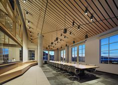 TIX solid wood table in the ValueAct Capital offices in San Francisco - designed by Gould Evans