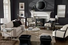 gorgeous black and white living room done tight, silver accents great layout