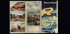 "Rotterdam, Holland 1954 Brochure - This is an 11 1/2 x 15 5/8"" doublesided sheet folded into six segments."