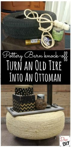 How to make a stylish ottoman for a fraction of the cost - using a tire