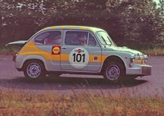 Fiat Abarth 1000 At the Grosser Preis der Tourenwagen, Nurburgring. Fiat 500, Sports Car Racing, Sport Cars, Race Cars, Fiat Abarth, Rally Car, Car And Driver, Good Old, Grand Prix