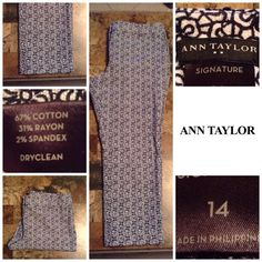 """Ann Taylor Signature Trouser Pants Ann Taylor Signature style Trouser Pants. Th y are stretchable. These Pants are both stylish and comfortable.  Made of 67% Cotton and 31% Rayon. Size 14. The colors in this Pants are black and white. Inseam """"25. Length """"34.5. Laying flat """"17.  This item is in Good condition, Authentic and from a Smoke And Pet free home. All Offers through the offer button ONLY. I Will not negotiate Price in the comment section. Thank You Ann Taylor Pants Trousers"""