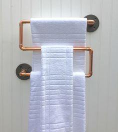 Industrial Copper Pipe Towel Rack, Towel Rod, Modern Industrial Steampunk Design, Modern Rustic Decor, Modern Bathroom Accessories, Man Cave by MacAndLexie on Etsy https://www.etsy.com/listing/239094823/industrial-copper-pipe-towel-rack-towel