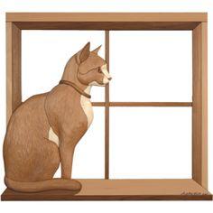 Intarsia pattern of a cat in a window