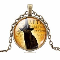 Vintage Cat Glass Pendant Necklace