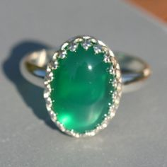 Green Agate Ring Silver Ring US Size 7 Ring by MaggieMcManeDesigns, $58.00