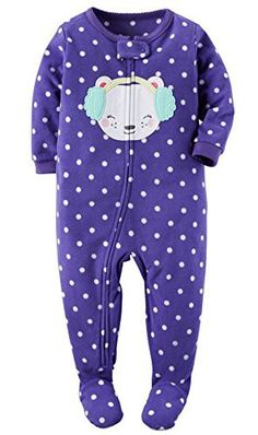 Carter's Baby-girls' 1 Pc Fleece Footed Blanket Sleeper Pajamas (12 Months, Purple Mouse)