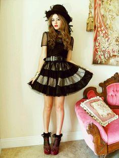 Black frilly socks with velvet heels