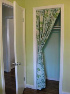 Doing this for my laundry room door...the builders didn't think to add room for the washer & dryer when they built the house...so the door doesn't close. What good is that?! Solution: fabric curtain door. Duh!