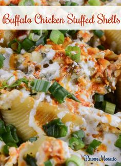 Buffalo Chicken Stuffed Shells combine the spicy flavor of buffalo chicken wings and the creamy cheesy goodness of mozzarella and salty blue cheese into cute, convenient pasta shells.