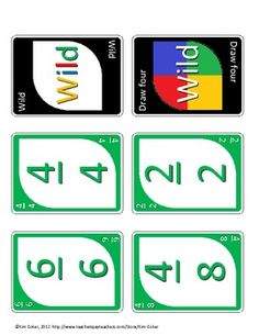 Fraction UNO - A Game of Equivalent Fractions Full Color … 3rd Grade Fractions, Equivalent Fractions, Math Fractions, Third Grade Math, Fourth Grade, Math Strategies, Math Resources, Math Activities, Fraction Games