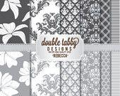 Digital paper pack scrapbook INSTANT DOWNLOAD - Silver, white, grey, floral, damask - REBECCA