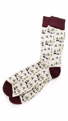$35 Retail! $17.50 #SALE Corgi Cotton & Nylon Socks Sz 9-11 Happy Camper Cream & Burgundy Pattern NEW #Corgi #Dress