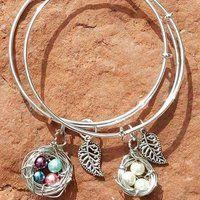 Birthstone Pearls Nest Charm Bangle Bracelets