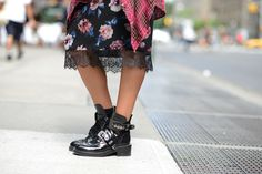 fall style: feminine dress and chunky boots -- lace, floral print, balenciaga boots, nyc