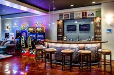 Man Cave Decor and Designs You Should Copy Get inspired with man cave décor ideas from Houzz contributors. These man cave designs work in the basement, attic, garage.even the bathroom! Man Cave Designs, Bar Design, House Design, Design Ideas, Bar Deco, Best Man Caves, Man Cave Games, Arcade Room, Man Cave Arcade