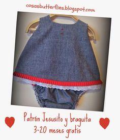 Cosas de Butterflies  Patrón gratis de Jesusito- vestido 3-20 meses  Jesusito Bebe 00f9c2fd344a
