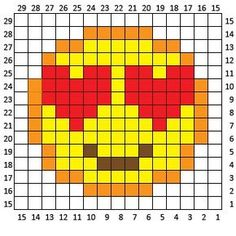 Heart Eyes Emoji C2C Crochet Square and Pixel Graph - Repeat Crafter Me