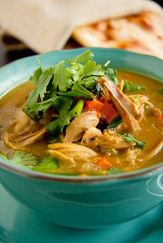 Chicken Curry Soup: Really good! coconut milk in place of cream. poached boneless/skinless thighs in chix broth, carrots, and onion & used this seasoned broth for the soup base. (tip: naan isn't that great...)