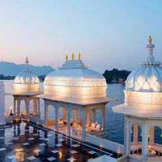 Pearly Whites - The Taj Lake Palace, Udaipur, Rajasthan, India. Take a small boat ride from the dock across Lake Pichola to access this floating marble palace. Photo: tajhotels.