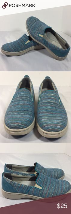 """Women's DANSKO slip on arch support shoes sz.42/10 This a pre-owned women's DANSKO slip on shoes , casual ,size 10 / 42, arch support, blues with multi colors in pattern , fabric uppers and lining , man made balance, heel is about 1 1/2"""" very clean on top , soles have some soil , view my many pics, and thank you! Dansko Shoes Flats & Loafers"""