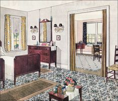1924 Blabon Bedroom - 1920s Bedroom Design Inspiration - Neutral Color Scheme