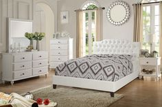 5 pc Charlton home seth white and grey faux leather queen bedroom set. This set includes the bed with slat kit (mattress ready), nightstand, dresser, mirror and chest. Bed measures H headboard and H footboard. Nightstand measures x x 26 White Bedroom Set, White Bedroom Furniture, Bed Furniture, Bedroom Sets, Silver Bedroom, Quality Furniture, Furniture Ideas, Queen Bedroom, Queen Bedding Sets