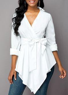 Belted Asymmetric Hem Turndown Collar Blouse Women Clothes For Cheap, Collections, Styles Perfectly Fit You, Never Miss It! Trendy Tops For Women, Blouses For Women, Women's Blouses, Fashion Blouses, Stylish Tops, Casual Tops, Fall Sweaters For Women, Jeans Denim, Collar Blouse