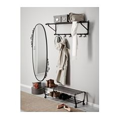 PORTIS shoe rack - Ikea For placing under the hat rack like this in the hall. something to sit on while you put your shoes on. Hallway Furniture, Furniture, Hat Rack, Small Entryways, Shoe Rack, Ikea, Ikea Coat Hanger, Kitchen Bathroom Remodel, Ikea Shoe Rack