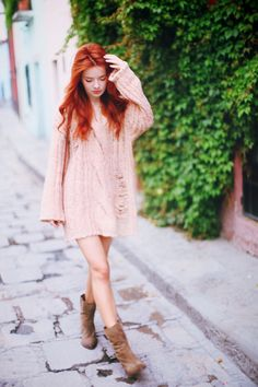 A shaggy sweater stands in for a dress- spruced up with some leggings, slouchy boots, and a shoulder bag... & BAM you're good to go!
