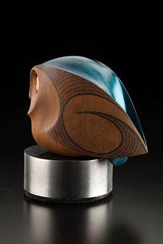Medium: kauri, aluminum around MDF base. Size: x 4 x inches incl base. Abstract Sculpture, Wood Sculpture, Art Studio Storage, Whittling Wood, Maori Art, Ceramic Owl, Wood Carving Art, Wooden Animals, Wood Stone