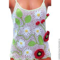 Купить Топ летний с маками - Вязание крючком, цветы, маки, белый, топ, ирландское кружево