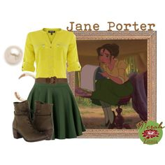 Jane Porter by merahzinnia on Polyvore featuring Episode, Steve Madden, Juliet & Company, Maison Margiela 11 and Disney