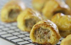 Etty's Sausage Rolls  For the Quick Flaky Pastry 75g block butter 110g plain flour A pinch of salt Cold water to mix For the filling: 225g good quality pork sausagemeat ½ medium or 1 small onion, finely chopped in a mini chopper 2 rounded tablespoons chopped sage leaves (about 10g chopped with the onion in the mini chopper) Salt and freshly milled black pepper 1 egg, beaten, to glaze.
