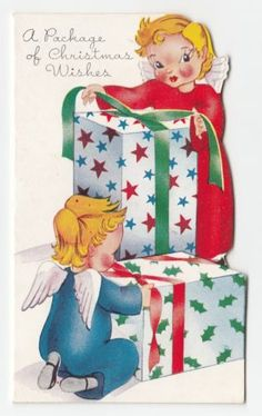 Vintage-Greeting-Card-Christmas-Cute-Die-Cut-1940s-Angels-Wrapping-Gifts