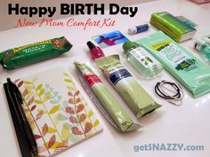 items- Happy BIRTH Day Kit - New Mom Comfort Kit - Hospital - Birthing Center Bag - getSNAZZY