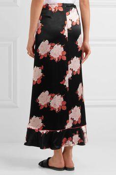 GANNI   Wrap-effect floral-print satin maxi skirt   NET-A-PORTER.COM