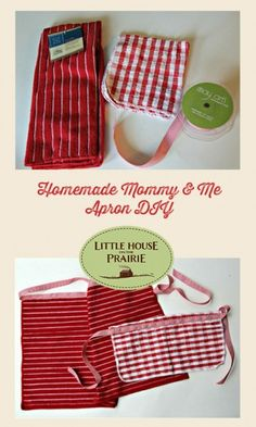 Homemade mommy & me apron made from dollar store dish towels - inspired by Little House on the Prairie!
