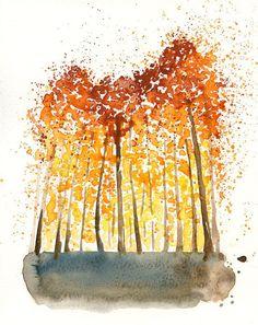 Herbst-Wald-Landschaft Malerei-Aquarell-Orange von Ireart auf Etsy
