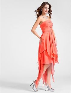 A-line Strapless Asymmetrical Chiffon Cocktail Dress - USD $ 129.99