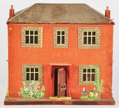 Wooden Dollhouse Covered with Paper~Image via Morrphy auctioneers