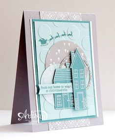 Holiday Home stampset, Holiday Day Home Framelits, All is Calm DSP, Polka Dot embossing folder, Christmas - Inge Groot-