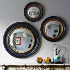 With a solid resin frame finished in rustic black and antiqued gold, these gently distressed Porthole Mirrors look stunning solo or as a group. Porthole Mirror, Convex Mirror, Oval Mirror, Round Mirrors, Mirror Art, Nautical Mirror, Nautical Theme, Window Pane Mirror, Decorating Tips