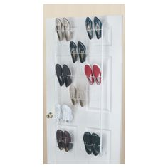 Cheap (ish) scarf organiser/hanger - 18 shoes... or 36 scarves!   Masters Home Improvement   ClosetMaid 18 Pair Over The Door Shoe Rack